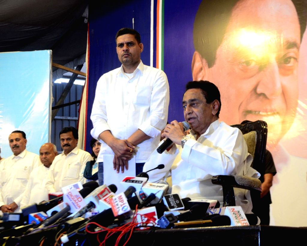 Bhopal: Madhya Pradesh Chief Minister and Congress leader Kamal Nath addresses a press conference announcing his resignation as the CM ahead of the floor test in the state assembly, in Bhopal on March 20, 2020. Addressing the press conference, Nath a - Kamal Nath