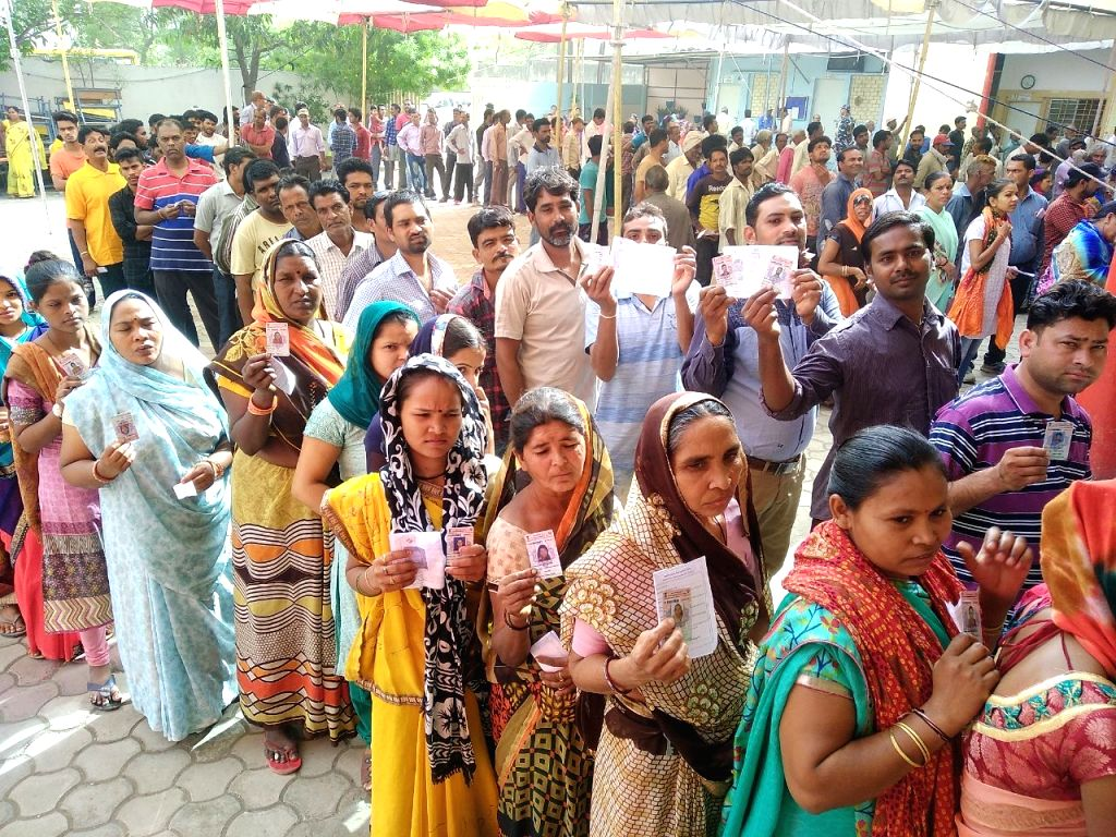 Bhopal: People queue up to cast their votes during the sixth phase of 2019 Lok Sabha elections, in Bhopal on May 12, 2019. (Photo: IANS)