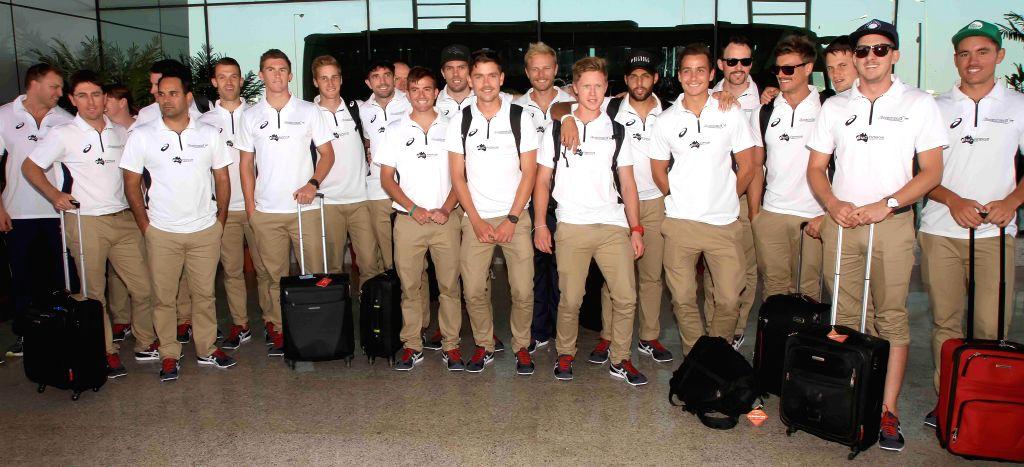 Australian Men's Hockey team arrive in Bhubaneswar ahead of Hero Men's Champions Trophy 2014 on Nov 30, 2014.