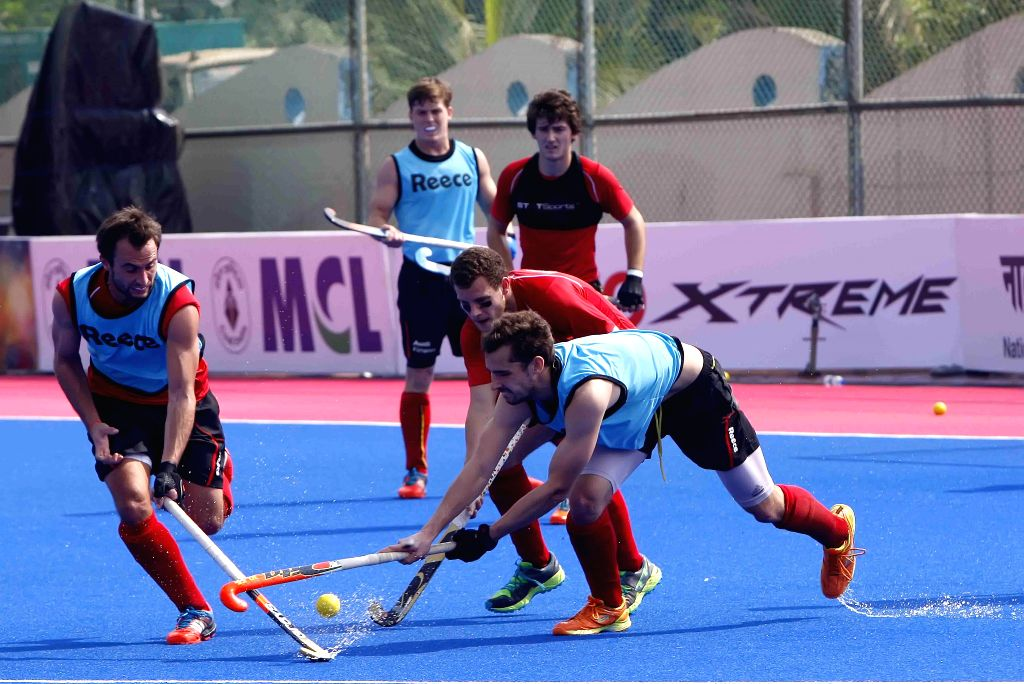 Belgium players in action during a practice session of Hero Men`s Champions Trophy 2014 at Kalinga Stadium in Bhubaneswar on Dec 5, 2014.