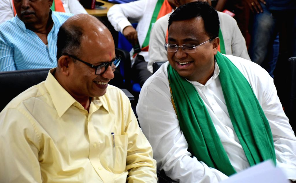 Bhubaneswar: Biju Janata Dal (BJD) candidates Amar Patnaik and Sasmit Patra ahead of filing their nomination papers for the Rajya Sabha by-polls scheduled to take place in Odisha on July 5, before the Returning Officer (RO) at the State Assembly, in