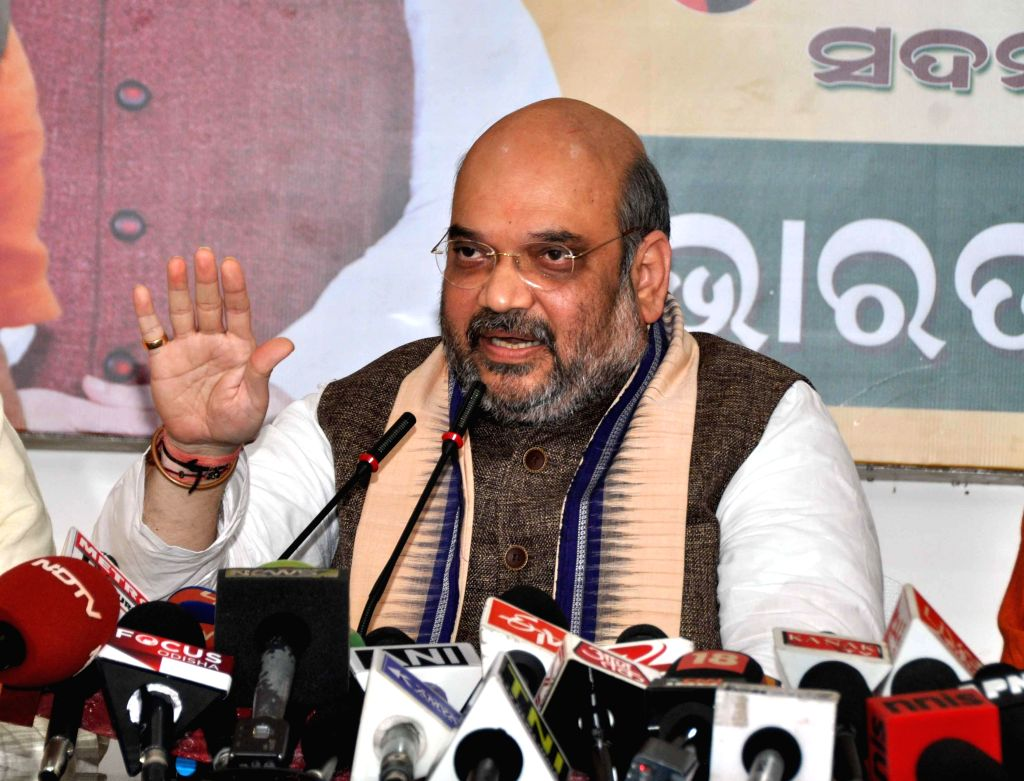 BJP leader Amit Shah addresses a press conference in Bhubaneswar, on Jan 7, 2015. (Photo : IANS)