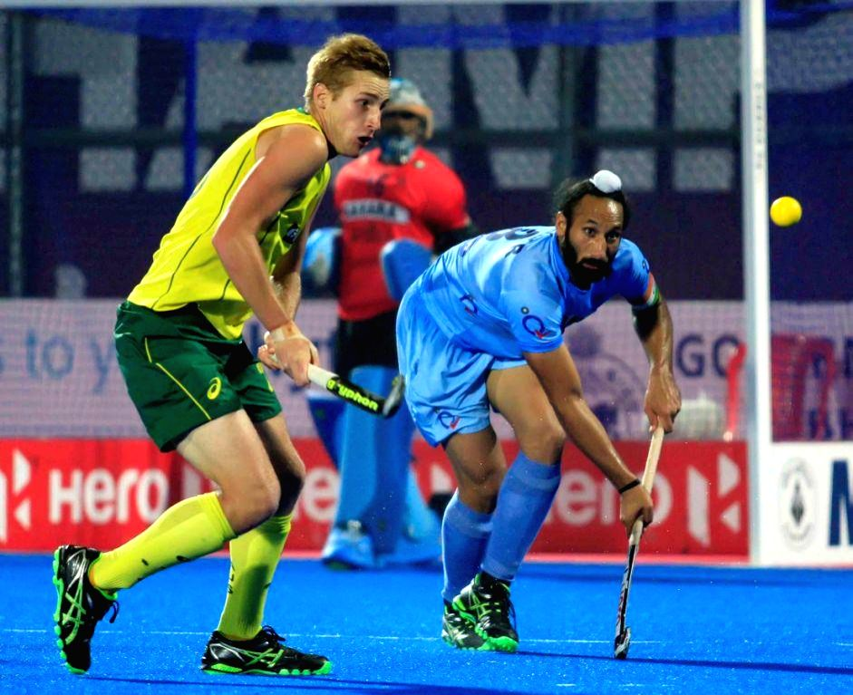 Indian Hockey captain Sardar Singh in action during a HHCT - 2014 (Hero Hockey Men`s Champions Trophy 2014) match between India and Australia at Kalinga Stadium in Bhubaneswar on Dec 13, - Sardar Singh