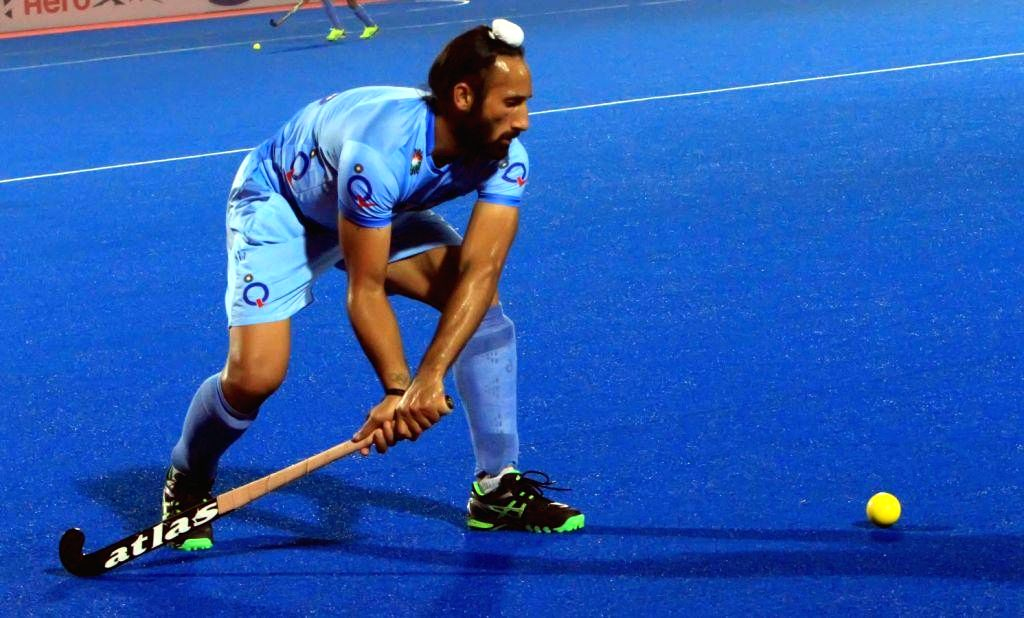 Indian Hockey team captain Sardar Singh in action during a practice session of Hero Men`s Champions Trophy 2014 at Kalinga Stadium in Bhubaneswar on Dec 8, 2014. - Sardar Singh