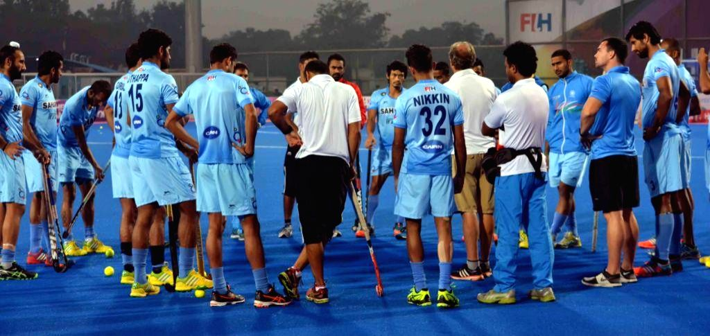 Indian players in action during a practice session of Hero Men`s Champions Trophy 2014 at Kalinga Stadium in Bhubaneswar on Dec 8, 2014.
