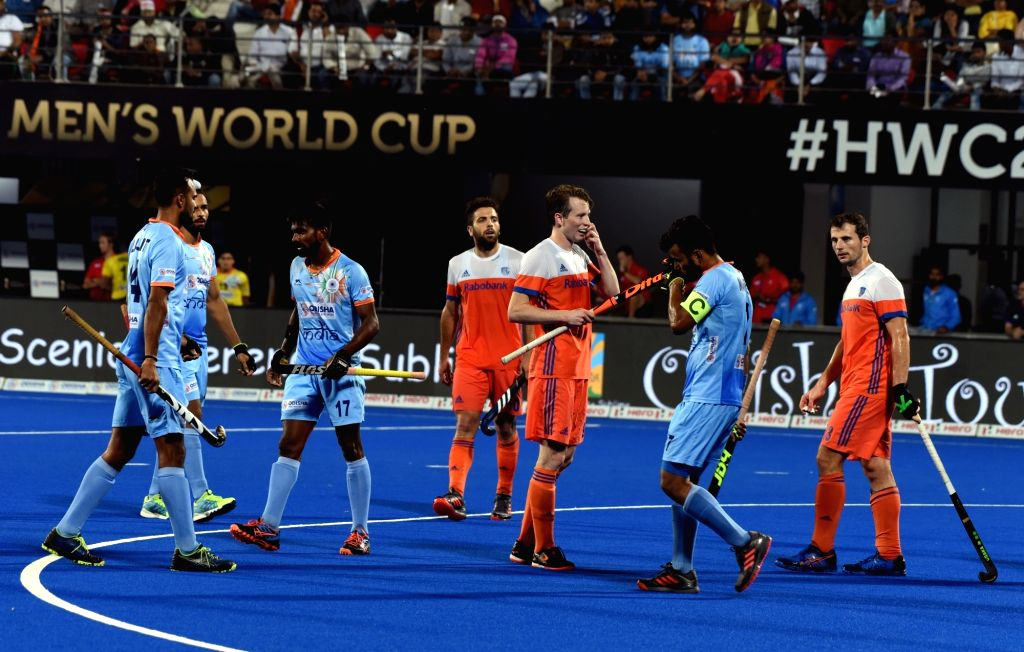 :Bhubaneswar: Indian players react after losing against Netherlands in a Men's Hockey World Cup 2018 match at Kalinga Stadium in Bhubaneswar on Dec 12, 2018. (Photo: IANS).