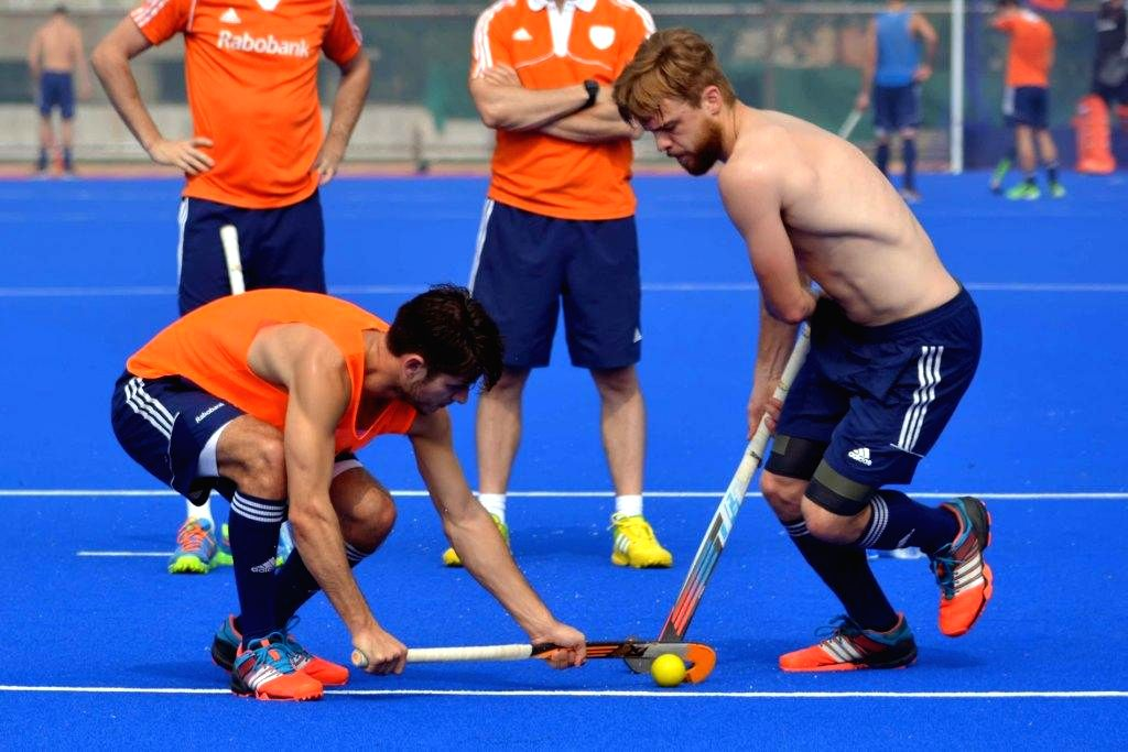 Netherland players in action during a practice session of Hero Men`s Champions Trophy 2014 at Kalinga Stadium in Bhubaneswar on Dec 8, 2014.