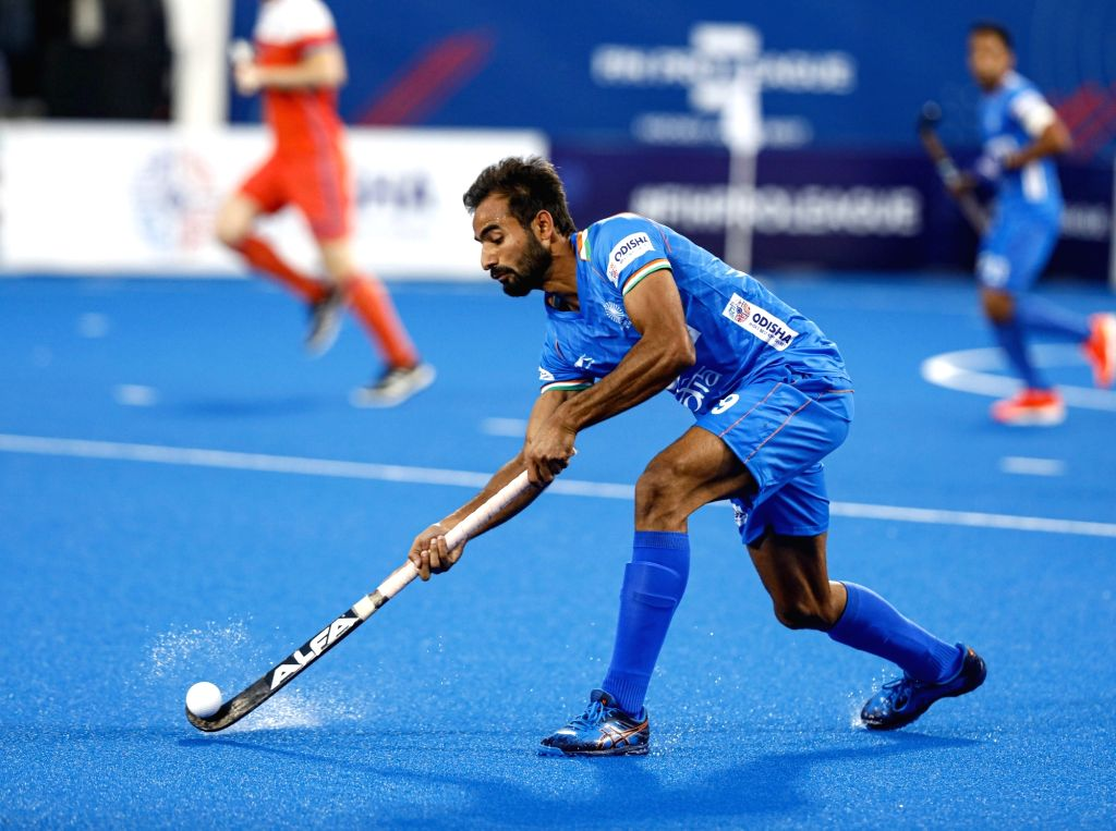 Bhubaneswar: Players in action during a FIH Hockey Pro League 2020 match between India and Netherlands at the Kalinga Hockey Stadium in Bhubaneswar on Jan 19, 2020. (Photo: IANS)