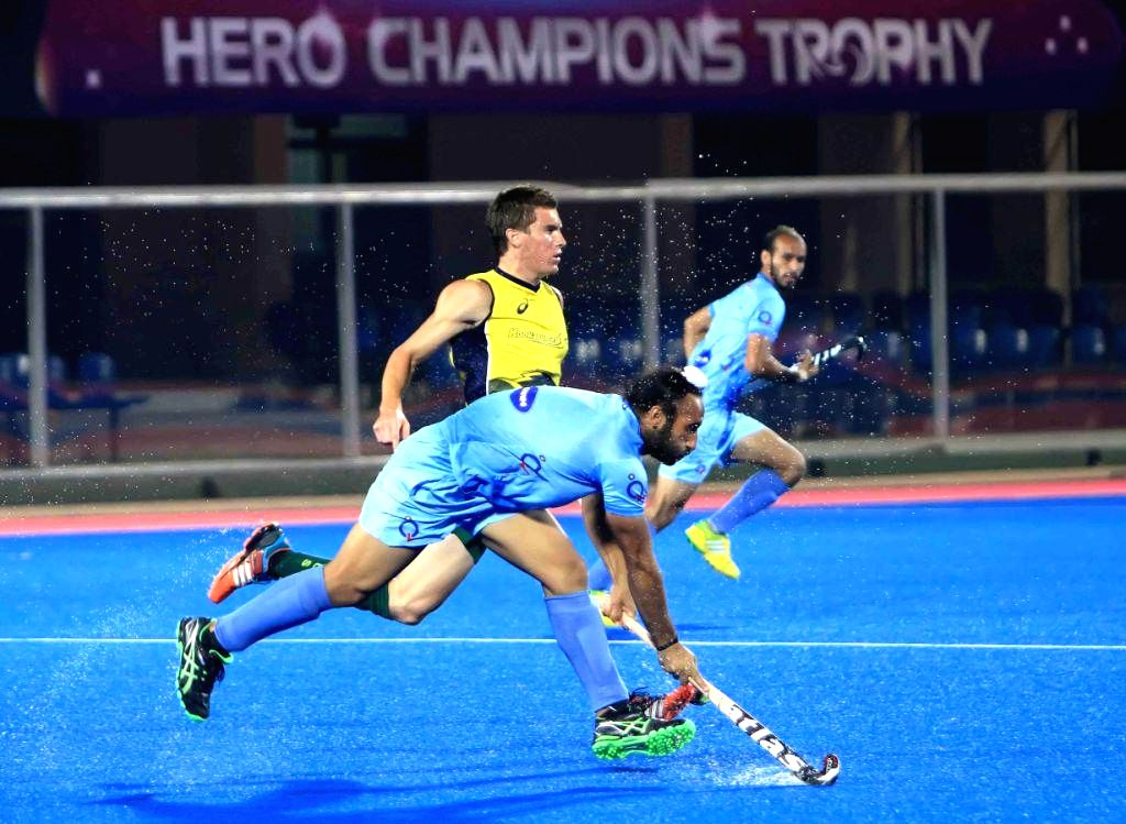 Players in action during a practice match of Hero Men's Champions Trophy 2014 between India and Australia  at Kalinga Stadium in Bhubaneswar on Dec 3, 2014. India won.