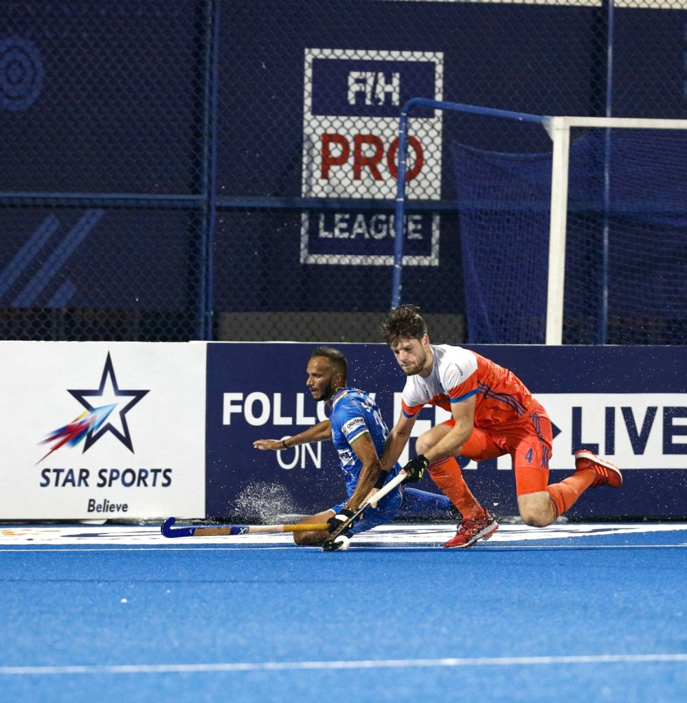 Bhubaneswar: Players in action during the FIH Men's Pro League match between India and Netherlands at the Kalinga Stadium in Bhubaneswar on Jan 18, 2020. (Photo: IANS)