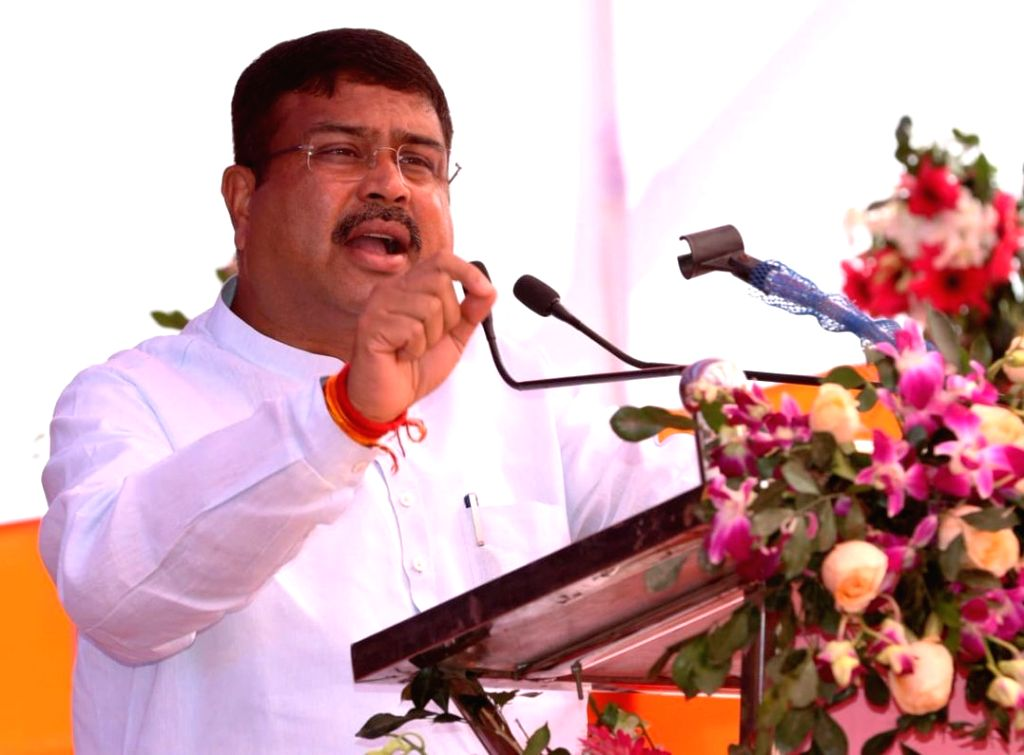 Bhubaneswar: Union Petroleum and Natural Gas and Skill Development and Entrepreneurship Minister Dharmendra Pradhan addresses at the foundation stone laying ceremony of National Highway Authority of India (NHAI) projects, in Bhubaneswar, Odisha, on F - Dharmendra Pradhan
