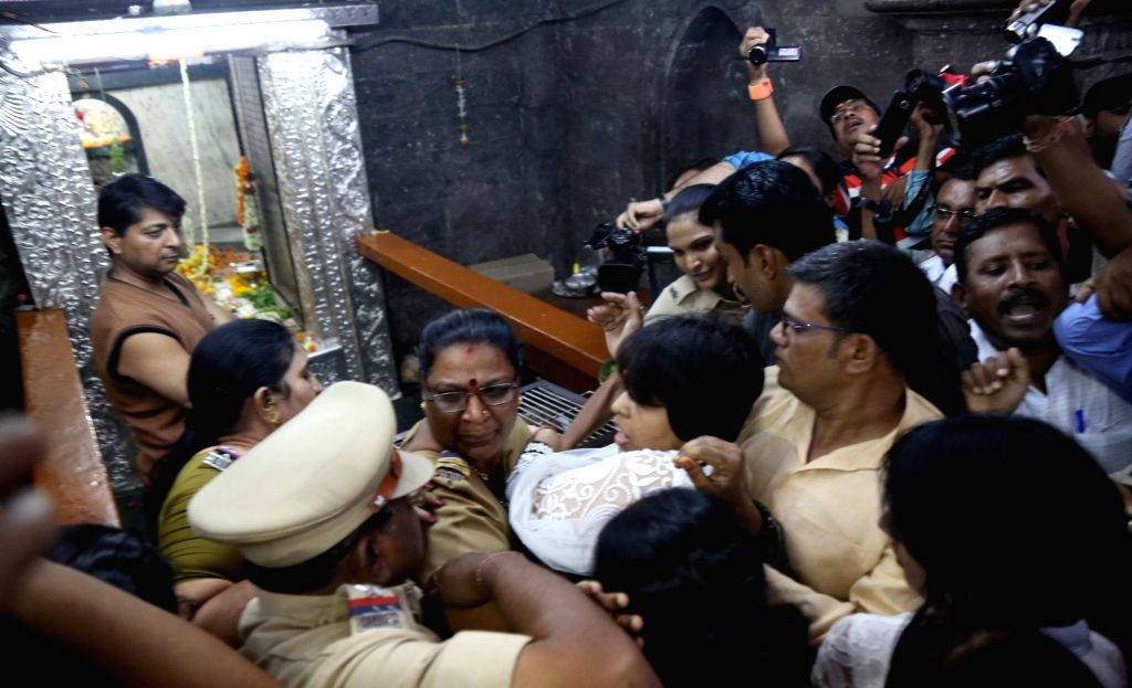 Bhumata Brigade president Trupti Desai who was attacked for worshipping at Kapaleshwar temple in Nashik, on May 27, 2016. - Trupti Desai