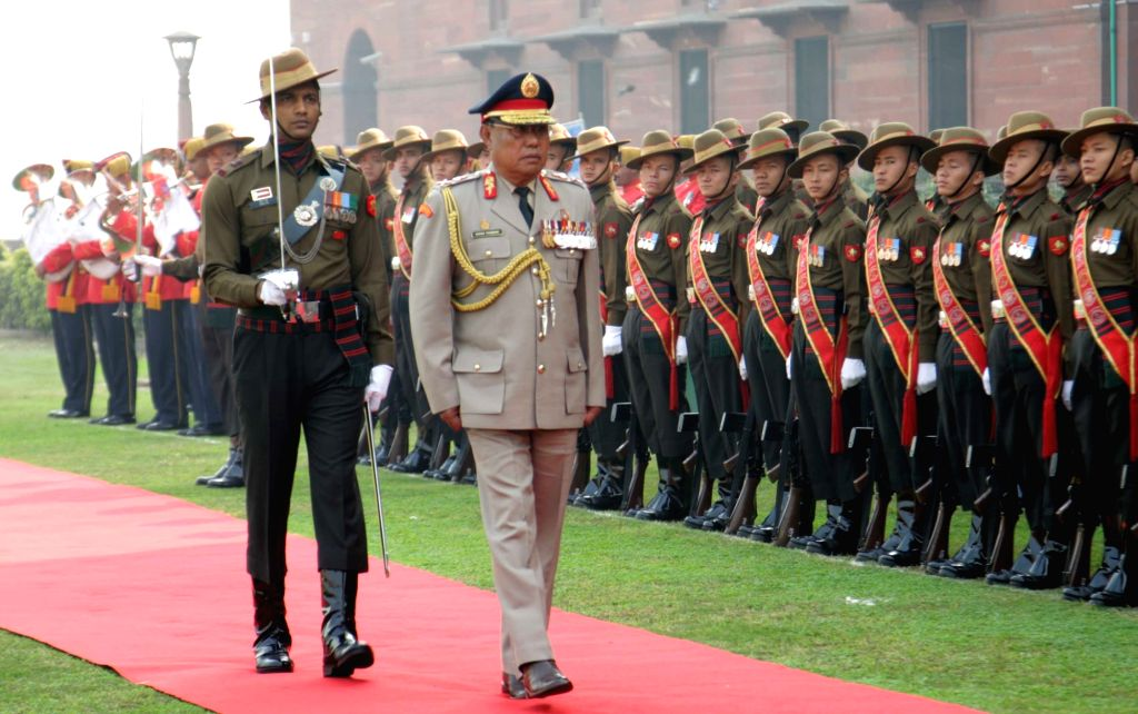 Bhutanese Army Chief Lt. Gen. Batoo Tshering inspects the Guard of Honour, in New Delhi on Dec 6, 2018.