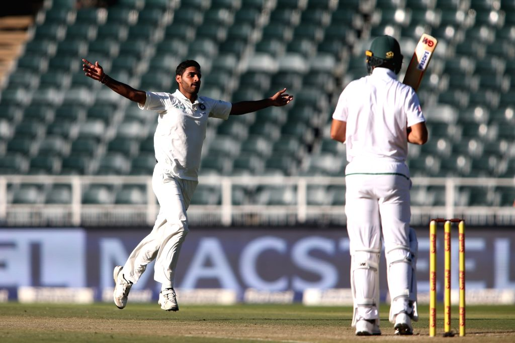 Bhuvneshwar Kumar of India celebrates fall of Aiden Markram's wicket during Day 1 of the third Test match between South Africa and India at the Wanderers Stadium in Johannesburg, South ... - Bhuvneshwar Kumar