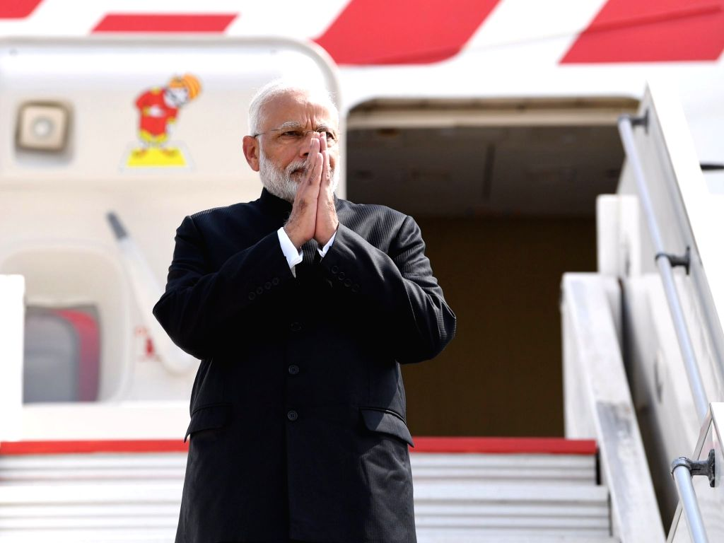 Biarritz: Prime Minister Narendra Modi emplanes for New Delhi after concluding his 3-nation visit to France, UAE and Bahrain comprising of bilateral and multilateral engagements, from Biarritz, France on Aug 26, 2019. (Photo: IANS/MEA) - Narendra Modi