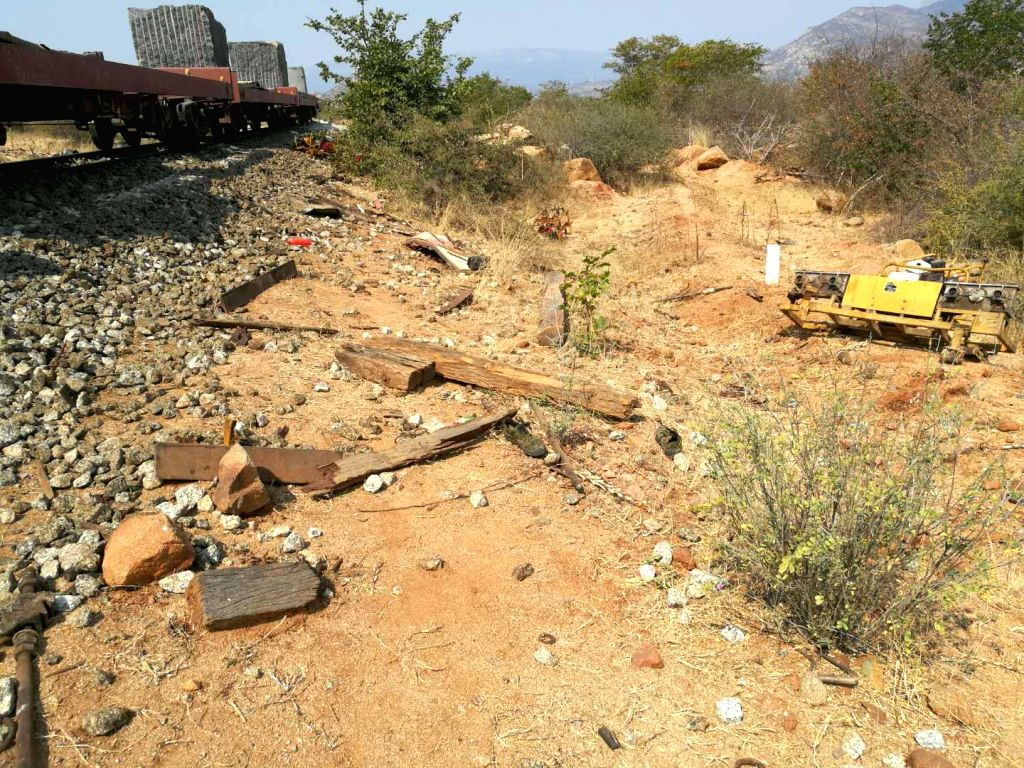 BIBALA (ANGOLA), Sept. 5, 2018 Photo taken on Sept. 4, 2018 shows the site of a train collision accident in Bibala, Namibe Province in southern Angola. At least 18 people, including two ...
