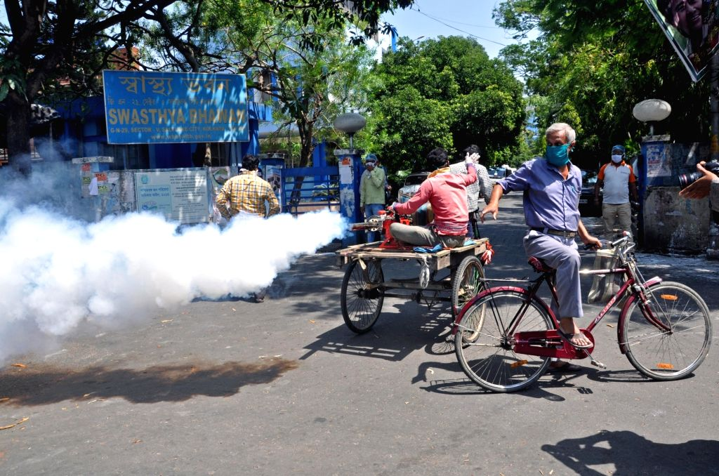 Bidhannagar Municipal Corporation workers spraying chemical fumigation during the nationwide during a 21-day lockdown announced by Prime Minister Narendra Modi as a precautionary measure to ... - Narendra Modi