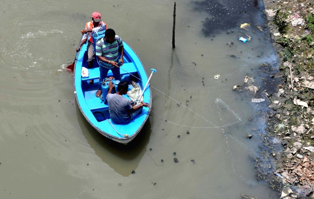 Bidhannagar Municipality staff sprays chemicals to curb mosquito-borne diseases at Keshtopur canal in Kolkata on Aug 9, 2017.