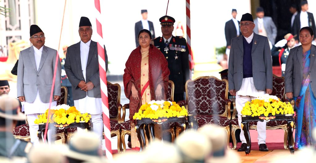 Bidhya Devi Bhandari (3rd L), Nepal's newly-elected president, attends the oath-taking ceremony in Kathmandu, Nepal, on Oct. 29, 2015. Nepal's parliament on ...