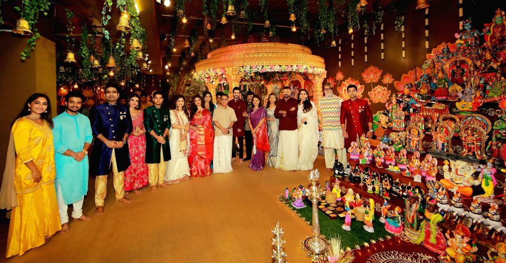 Amitabh Bachchan attends Navratri puja at Kalyanaraman family residence.