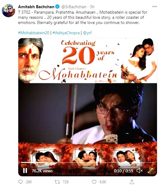 Big B looks back as Mohabbatein turns 20.