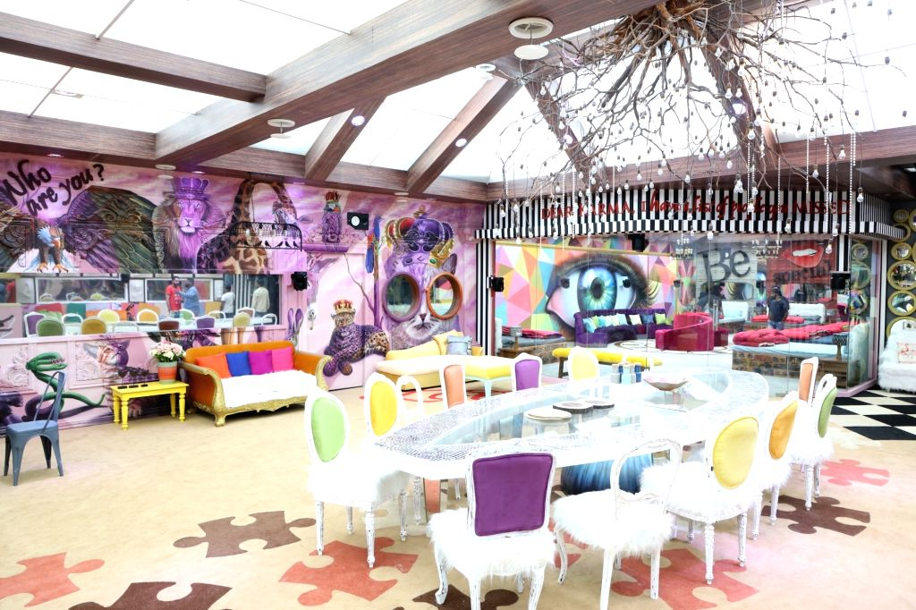 """Big Boss House - dining area. Art director Omung Kumar, who has been designing the set for the reality show """"Bigg Boss"""" for years now, decided to go plastic-free for the 13th season. This ... - Omung Kumar"""