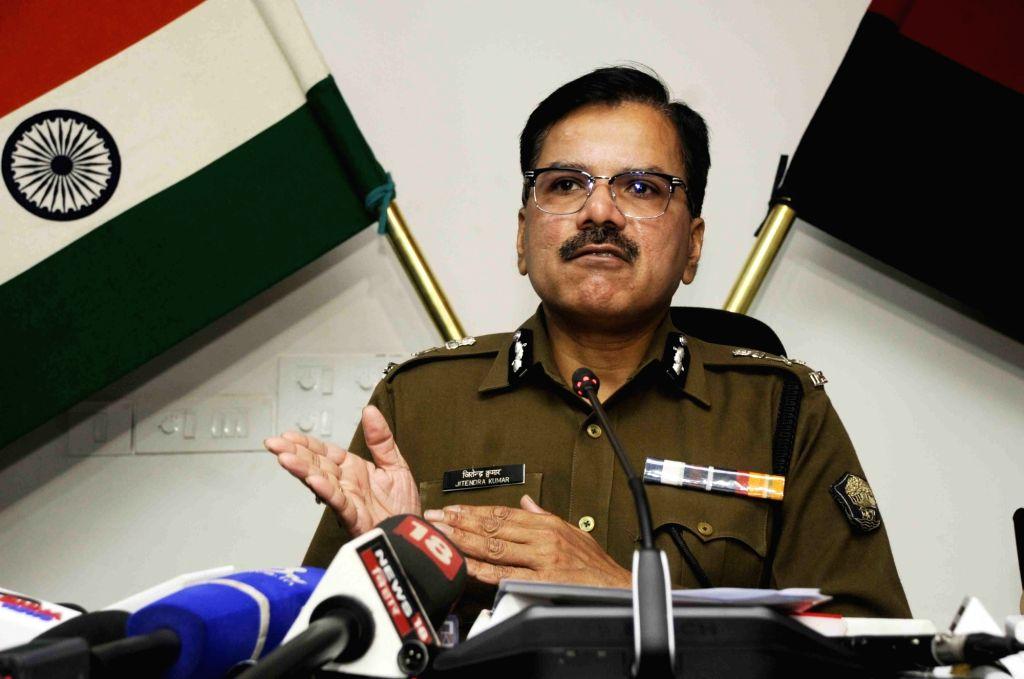 Bihar Additional Director General of Police (DGP) Jitendra Kumar addresses a press conference, in Patna on Feb 6, 2020. - Jitendra Kumar