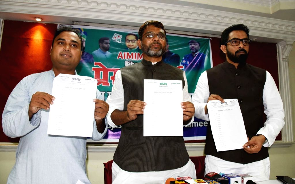 Bihar AIMIM President Akhtarul Iman releases the list of candidates for the upcoming state assembly elections, at a press conference in Patna on Sep 1, 2020.