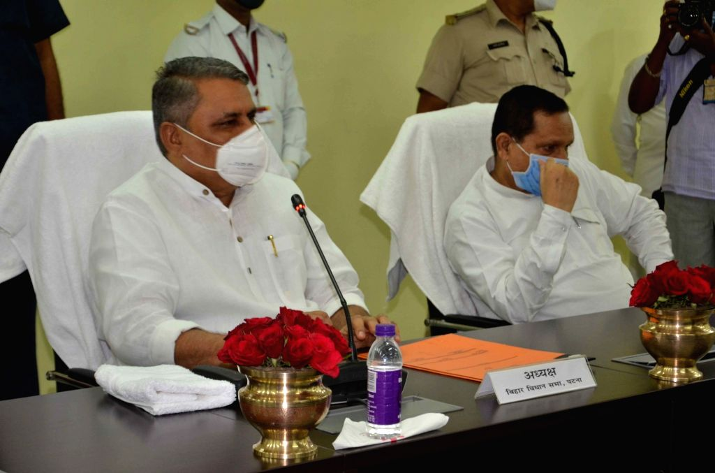 Bihar Assembly Speaker Vijay Kumar Chaudhary chairs review meeting ahead of the four-day Monsoon session of the Bihar bicameral legislature that will commence from August 3; at Gyan Bhawan in ... - Vijay Kumar Chaudhary