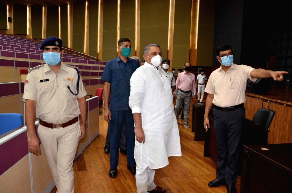 Bihar Assembly Speaker Vijay Kumar Chaudhary reviews preparations for the four-day Monsoon session of the Bihar bicameral legislature that will commence from August 3; at Gyan Bhawan in Patna ... - Vijay Kumar Chaudhary