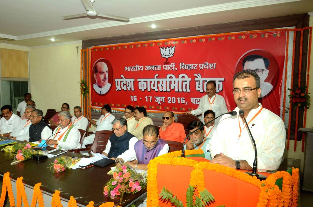Bihar BJP chief Mangal Pandey addresses during a party meeting in Patna, on June 16, 2016. - Mangal Pandey