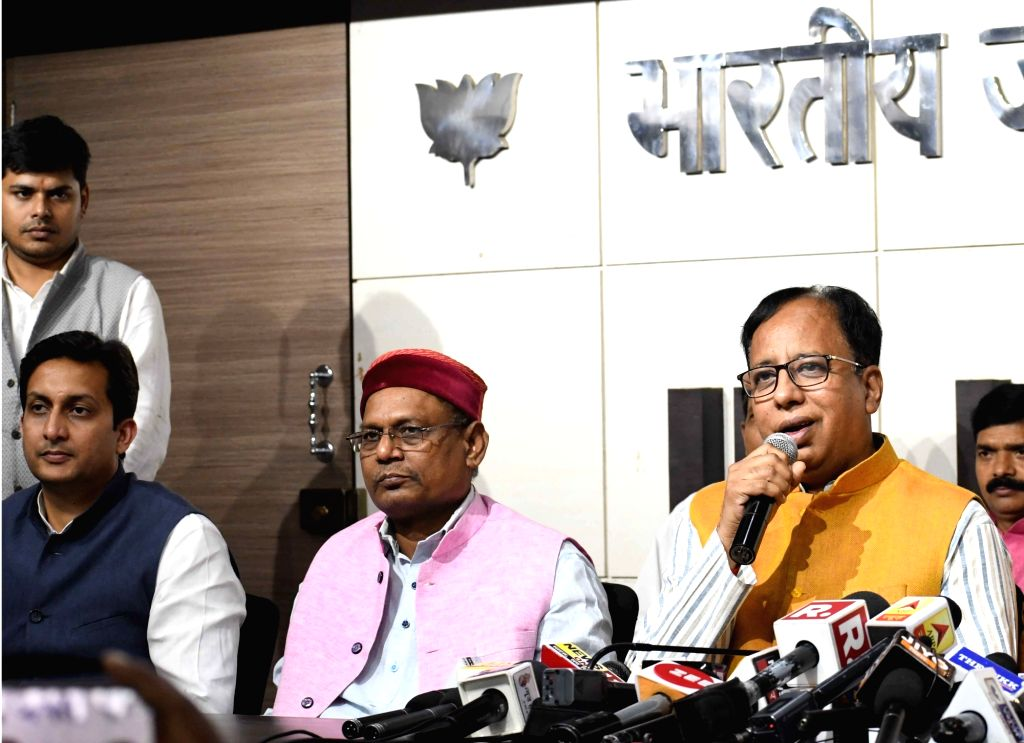 Bihar BJP chief Sanjay Jaiswal addresses a press conference in Patna on Oct 26, 2019.