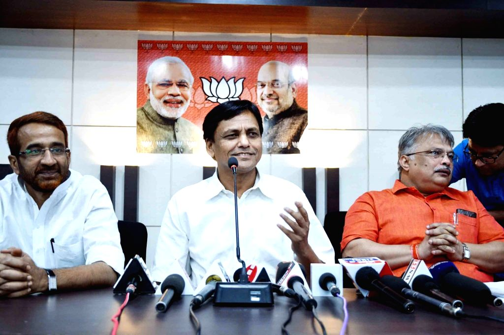 Bihar BJP president Nityanand Rai addresses a press conference at the party office, in Patna on May 29, 2018. - Nityanand Rai