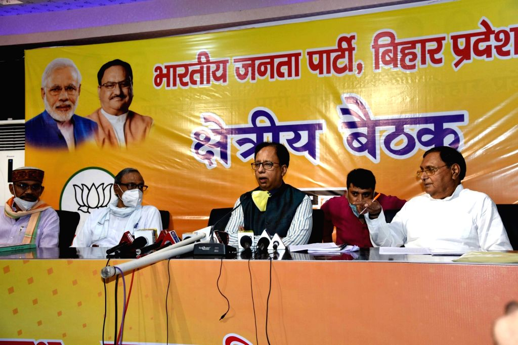 Bihar BJP President Sajay Jaiswal presides over a party meeting at the state party headquarters in Patna on July 9, 2020.