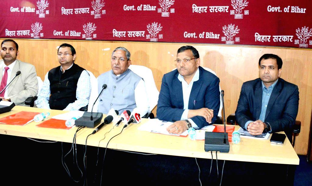 Bihar Cabinet Minister Nand Kishore Yadav addresses a press conference in Patna on Dec 11, 2019. - Nand Kishore Yadav