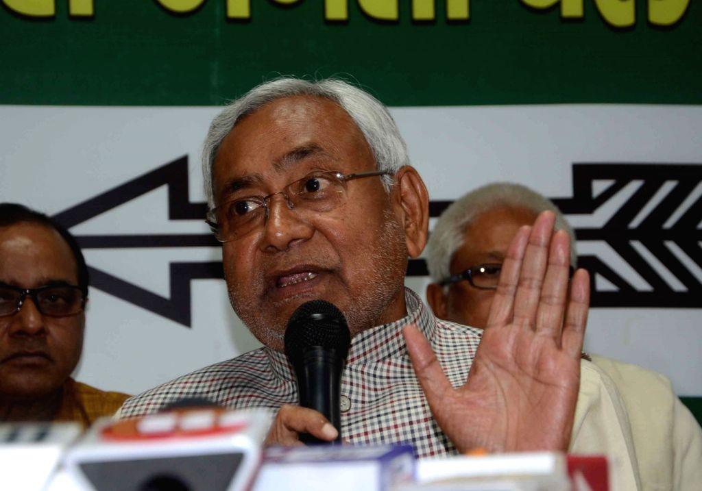 Bihar Chief Minister and Janta Dal United (JDU) national President Nitish Kumar addresses a press confrence in Patna on Feb 21, 2019. - Nitish Kumar