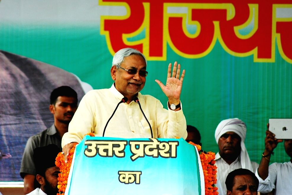 Bihar Chief Minister and JD(U) chief Nitish Kumar addresses during a party rally in Varanasi on May 12, 2016. - Nitish Kumar