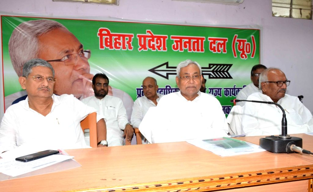 Bihar Chief Minister and JD(U) chief Nitish Kumar arrives to attend a party meeting in Patna on July 1, 2017. - Nitish Kumar