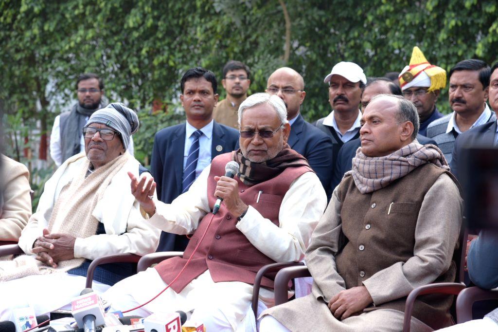 Bihar Chief Minister and JD-U chief Nitish Kumar addresses a press conference in Patna on Jan 28, 2020. - Nitish Kumar