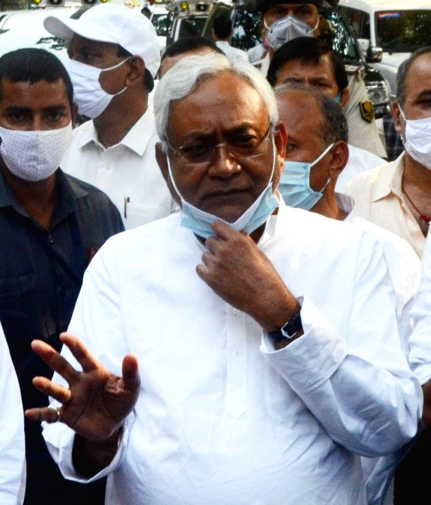 Bihar Chief Minister and JD-U National President Nitish Kumar leaves after attending NDA meeting in Patna, on Nov 13, 2020. - Nitish Kumar