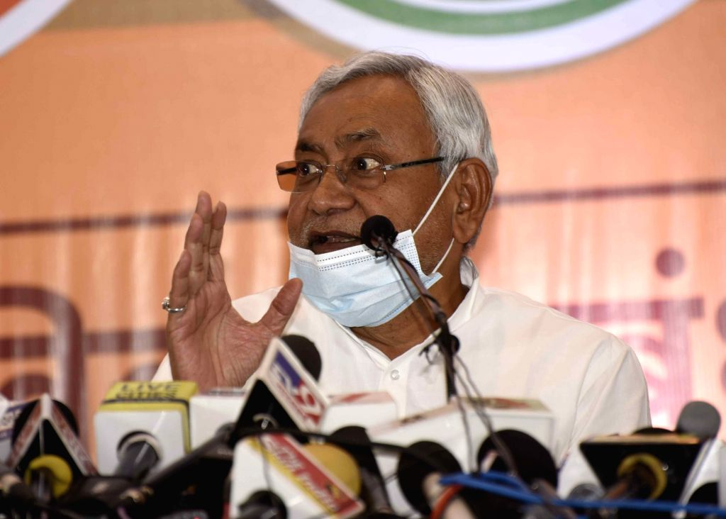 Bihar Chief Minister and JD-U President Nitish Kumar addresses a press conference held by NDA parties ahead of Bihar Assembly elections, in Patna on Oct 6, 2020. - Nitish Kumar
