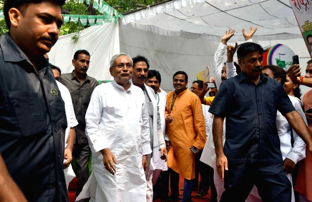 Bihar Chief Minister and JD (U) President Nitish Kumar arrives for a party worker's meeting,in New Delhi, on July 8, 2018. - Nitish Kumar