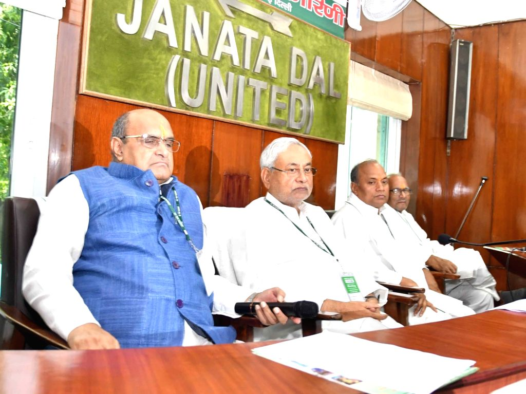 Bihar Chief Minister and JD (U) President Nitish Kumar during a party worker's meeting,in New Delhi, on July 8, 2018. - Nitish Kumar
