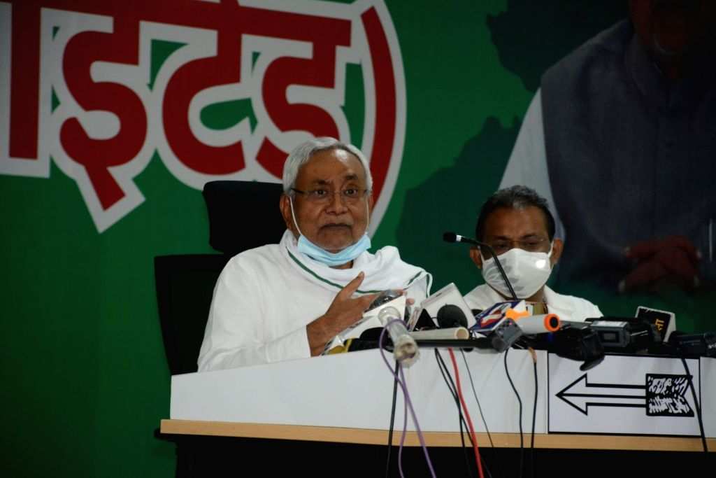 Bihar Chief Minister and JD-U supremo Nitish Kumar addresses a press conference at the party office in Patna on Sep 25, 2020. - Nitish Kumar