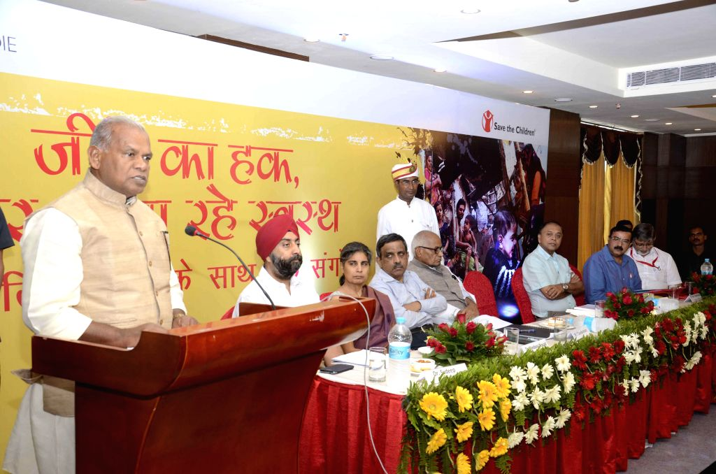 Bihar Chief Minister Jitan Ram Majhi addresses during inauguration of a programme organised by 'Save The Children' a Child Rights organisation in Patna on July 20, 2014. - Jitan Ram Majhi