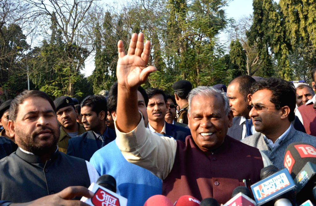 Bihar Chief Minister Jitan Ram Majhi addresses a press conference after meeting Bihar Governor Keshari Nath Tripathi in Patna, on Feb 9, 2015. - Jitan Ram Majhi and Keshari Nath Tripathi