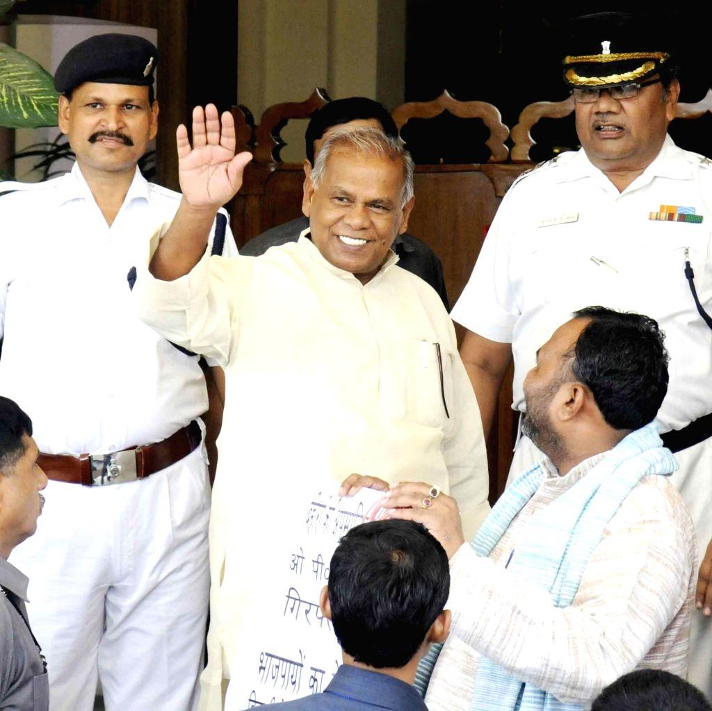 Bihar Chief Minister Jitan Ram Majhi arrives at Bihar Legislative Assembly in Patna on July 7, 2014. - Jitan Ram Majhi