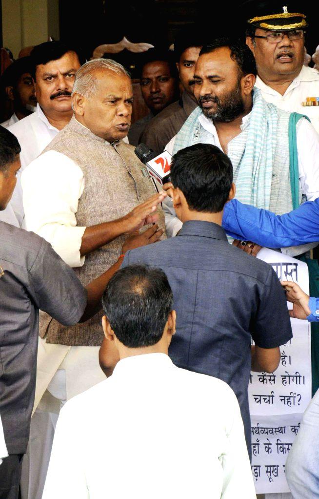 Bihar Chief Minister Jitan Ram Majhi arrives at Bihar Legislative Assembly in Patna on July 18, 2014. - Jitan Ram Majhi