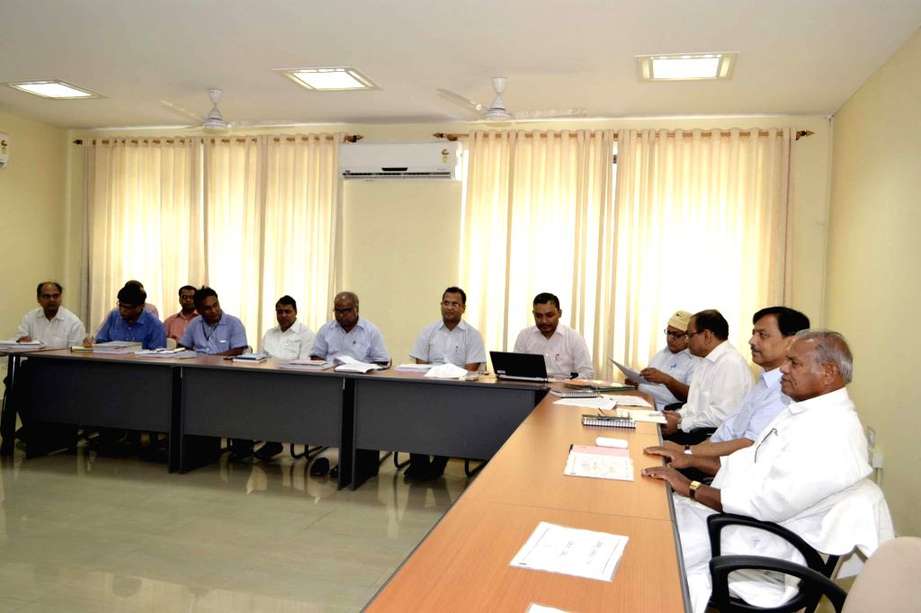 Bihar Chief Minister Jitan Ram Manjhi during high-level meeting with the officials of Bihar State Building Construction Department in Patna on June 17, 2014.