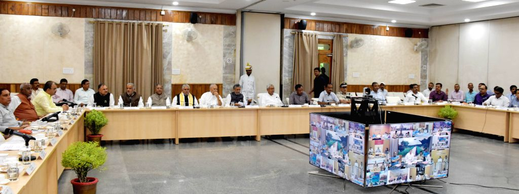 Bihar Chief Minister Niotish Kumar vchairs a cabinet meeting to review the situation of flood in the state and discuss relief measures, in Patna on July 27, 2019. - Niotish Kumar